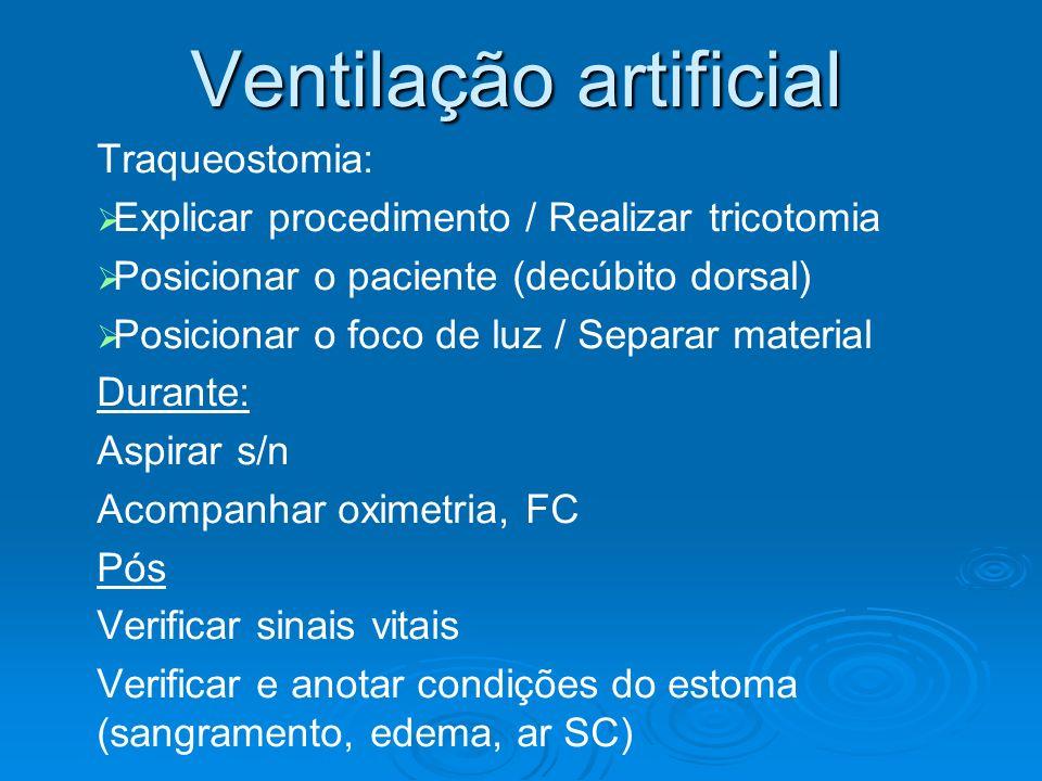 Ventilação artificial Traqueostomia: Explicar procedimento / Realizar tricotomia Posicionar o paciente (decúbito dorsal) Posicionar o foco de luz / Se