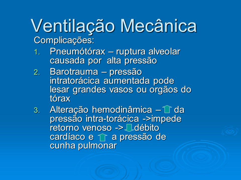 Ventilação Mecânica Complicações: 1. Pneumótórax – ruptura alveolar causada por alta pressão 2. Barotrauma – pressão intratorácica aumentada pode lesa
