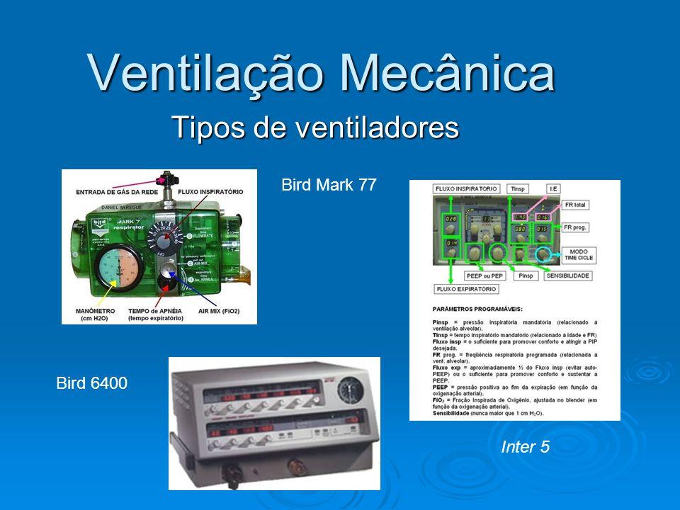 Ventilação Mecânica Modo de ventilação: VMC – volume e FR estabelecido VMC – volume e FR estabelecido A/C volume a cada respiração (vm e cliente) A/C volume a cada respiração (vm e cliente) VMI – distribui volume e FR e o paciente também VMI – distribui volume e FR e o paciente também VMIS – Distribui volume sincronizado com o esforço de inspiração do cliente VMIS – Distribui volume sincronizado com o esforço de inspiração do cliente