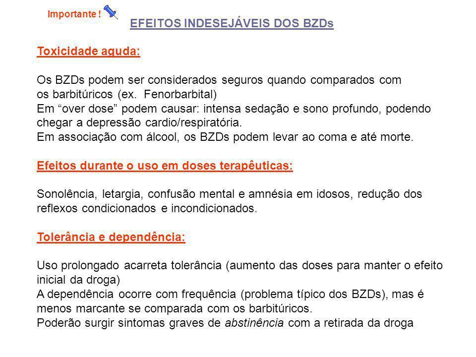 EFEITOS INDESEJÁVEIS DOS BZDs Toxicidade aguda: Os BZDs podem ser considerados seguros quando comparados com os barbitúricos (ex. Fenorbarbital) Em ov