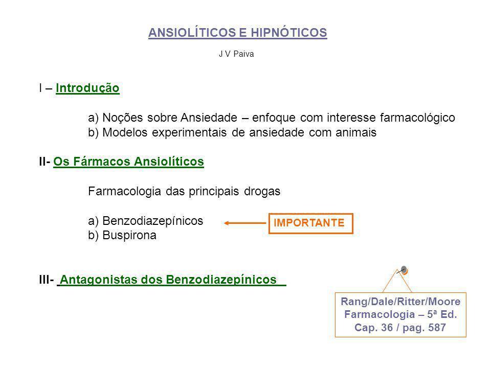 ANSIOLÍTICOS E HIPNÓTICOS I – Introdução a) Noções sobre Ansiedade – enfoque com interesse farmacológico b) Modelos experimentais de ansiedade com ani