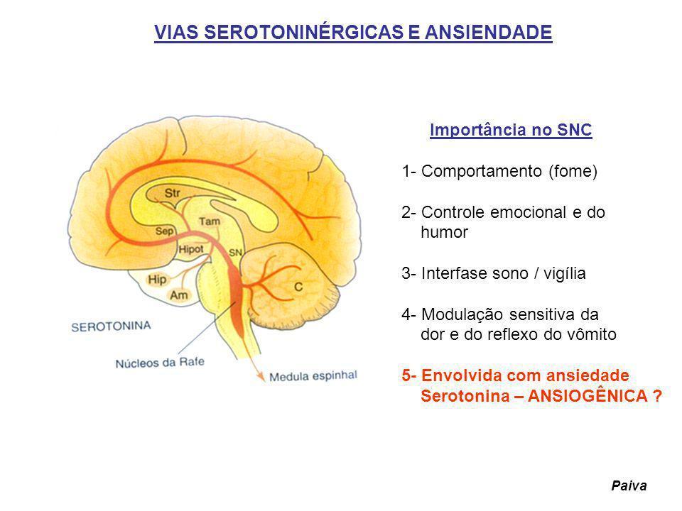 VIAS SEROTONINÉRGICAS E ANSIENDADE Importância no SNC 1- Comportamento (fome) 2- Controle emocional e do humor 3- Interfase sono / vigília 4- Modulaçã