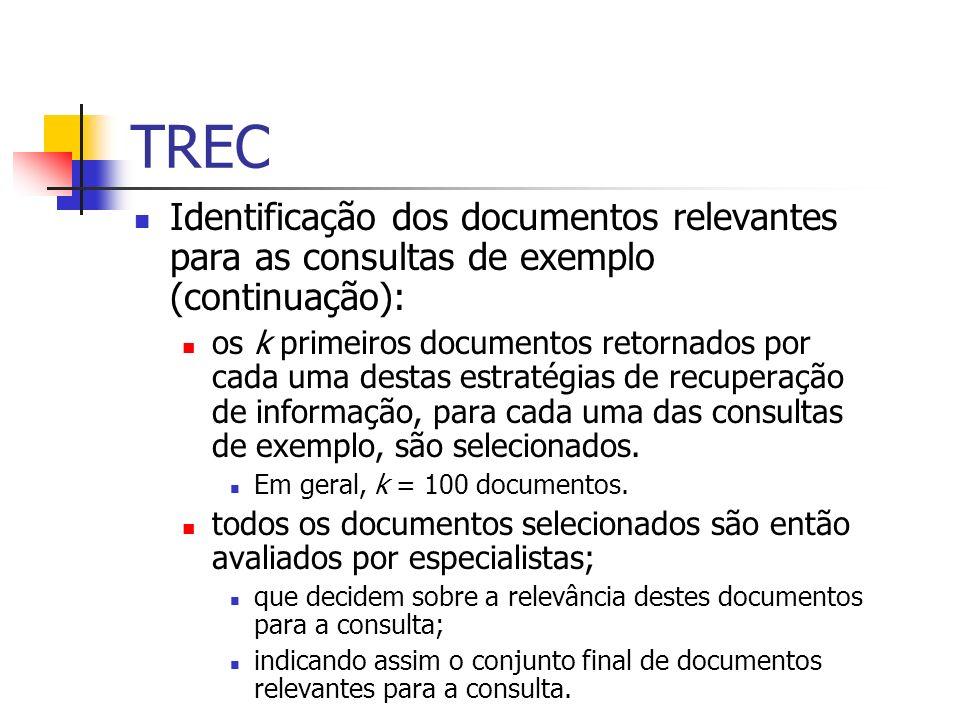 TREC Identificação dos documentos relevantes para as consultas de exemplo (continuação): os k primeiros documentos retornados por cada uma destas estr