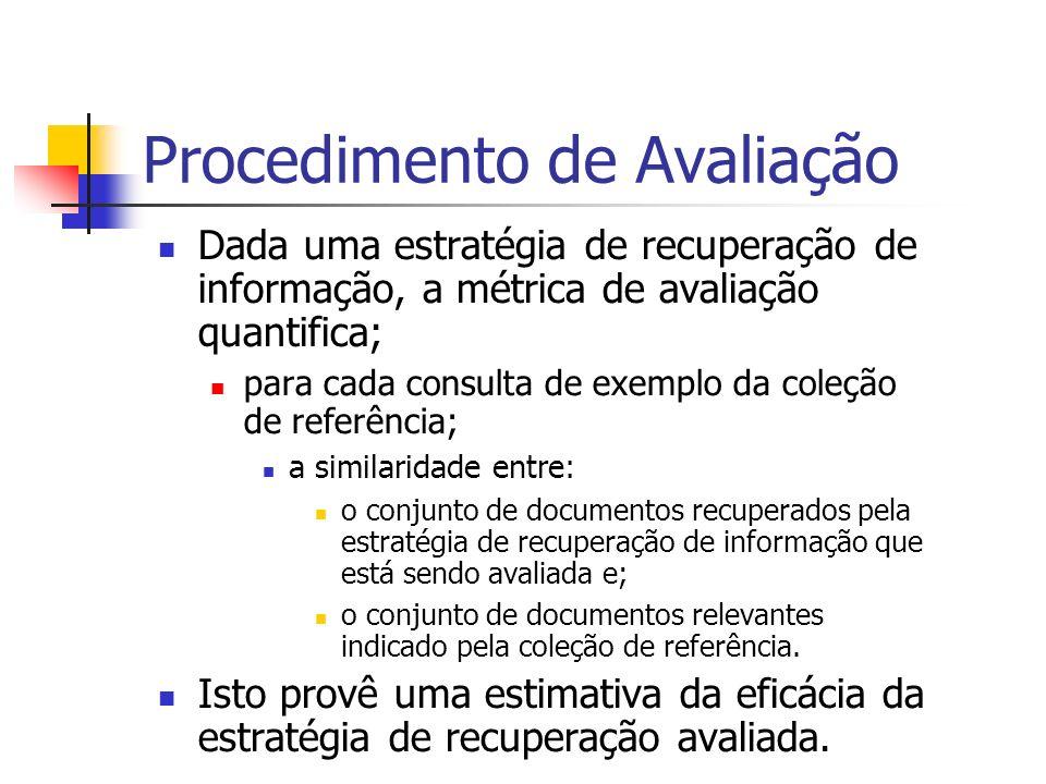 Procedimento de Avaliação Dada uma estratégia de recuperação de informação, a métrica de avaliação quantifica; para cada consulta de exemplo da coleçã