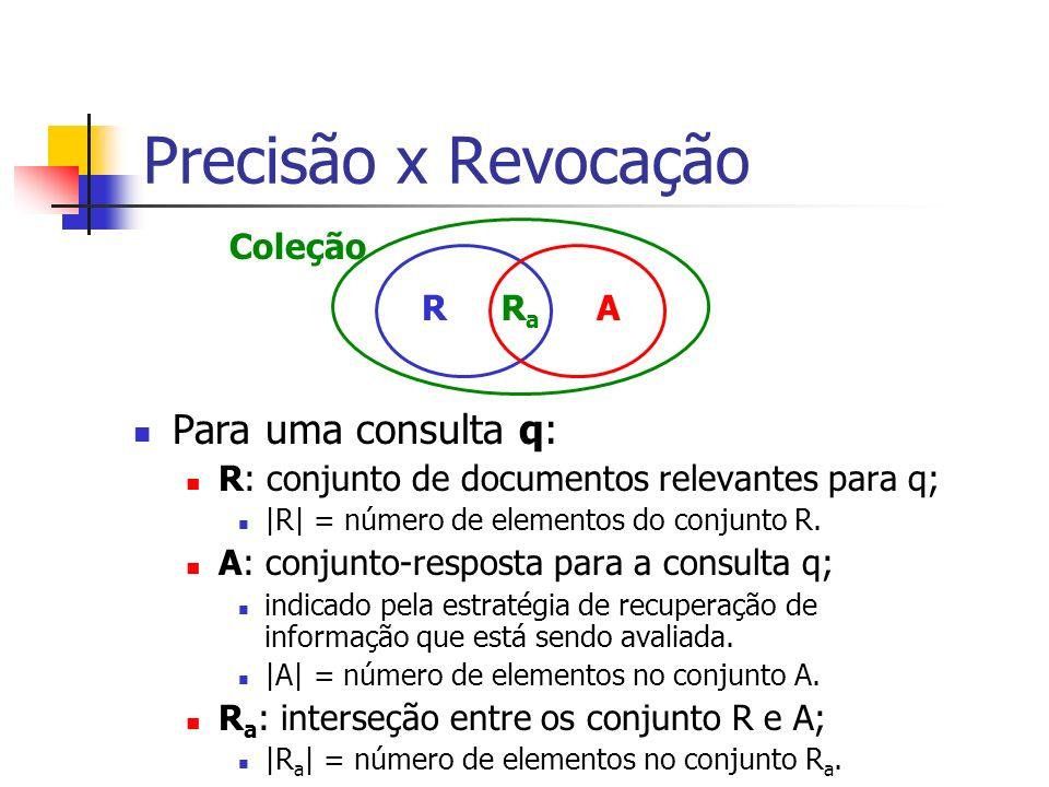 Precisão x Revocação Para uma consulta q: R: conjunto de documentos relevantes para q; |R| = número de elementos do conjunto R. A: conjunto-resposta p