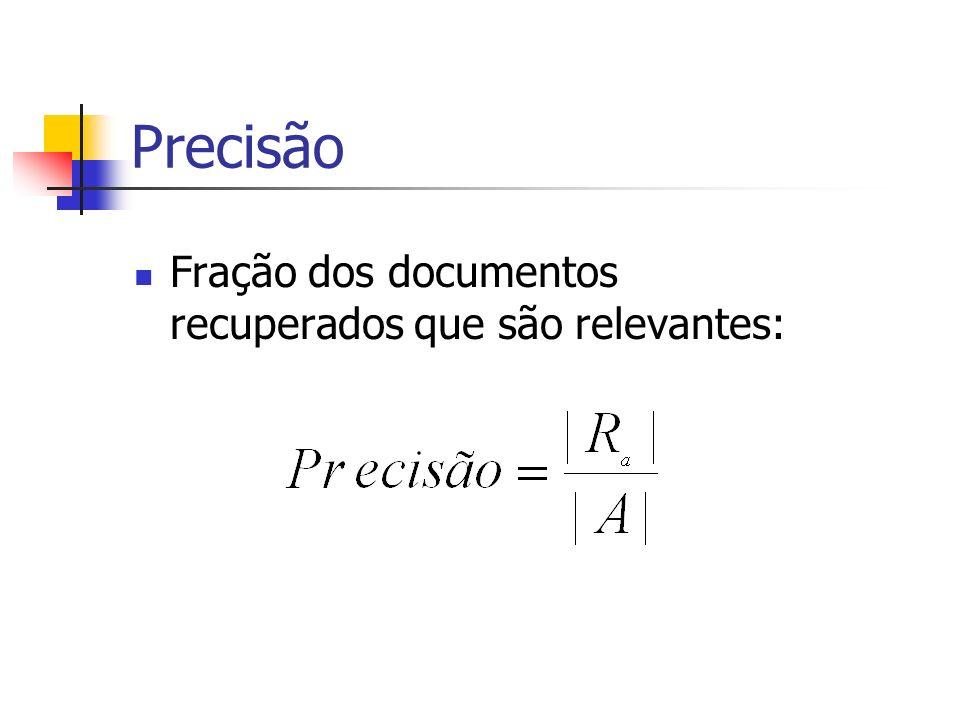 Precisão Fração dos documentos recuperados que são relevantes: