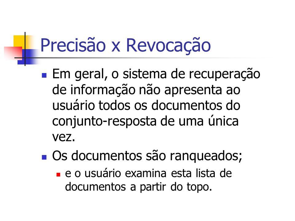 Precisão x Revocação Em geral, o sistema de recuperação de informação não apresenta ao usuário todos os documentos do conjunto-resposta de uma única v