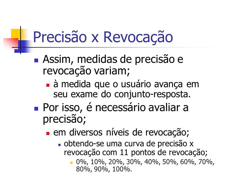 Precisão x Revocação Assim, medidas de precisão e revocação variam; à medida que o usuário avança em seu exame do conjunto-resposta. Por isso, é neces
