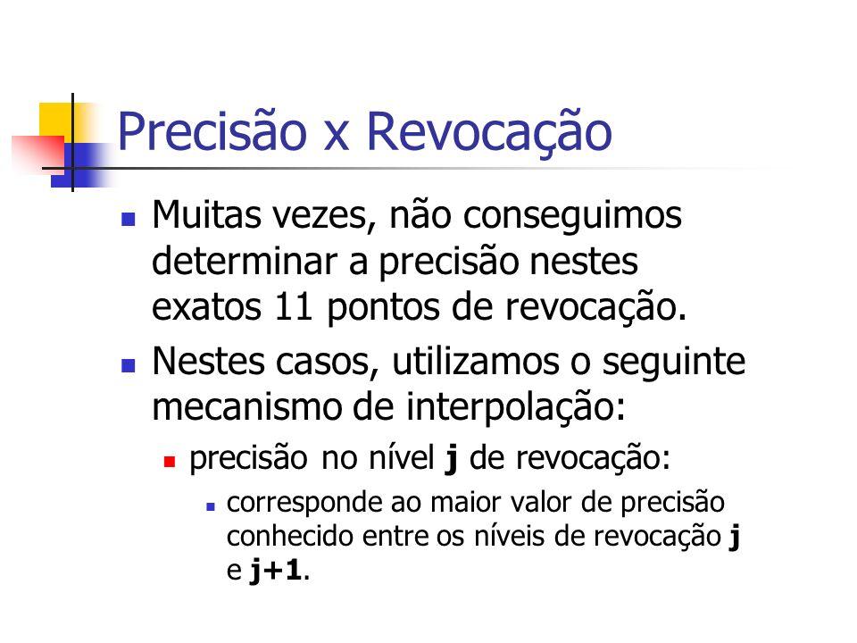 Precisão x Revocação Muitas vezes, não conseguimos determinar a precisão nestes exatos 11 pontos de revocação. Nestes casos, utilizamos o seguinte mec