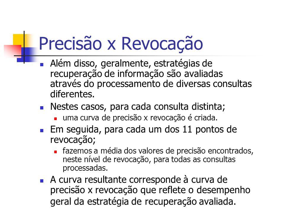 Precisão x Revocação Além disso, geralmente, estratégias de recuperação de informação são avaliadas através do processamento de diversas consultas dif