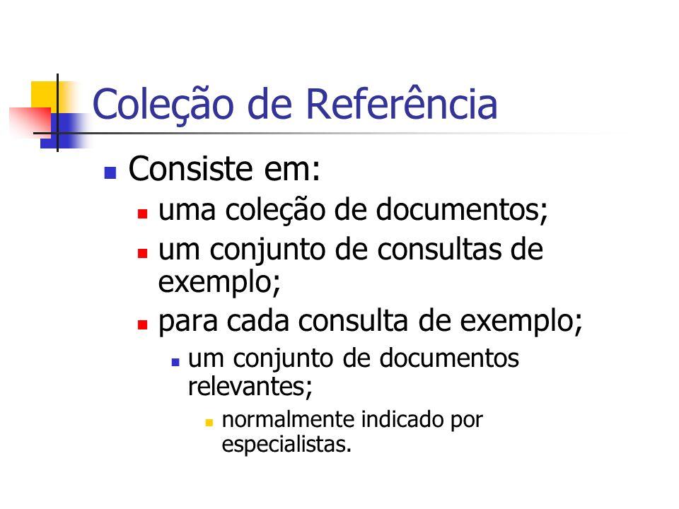 Coleção de Referência Consiste em: uma coleção de documentos; um conjunto de consultas de exemplo; para cada consulta de exemplo; um conjunto de docum
