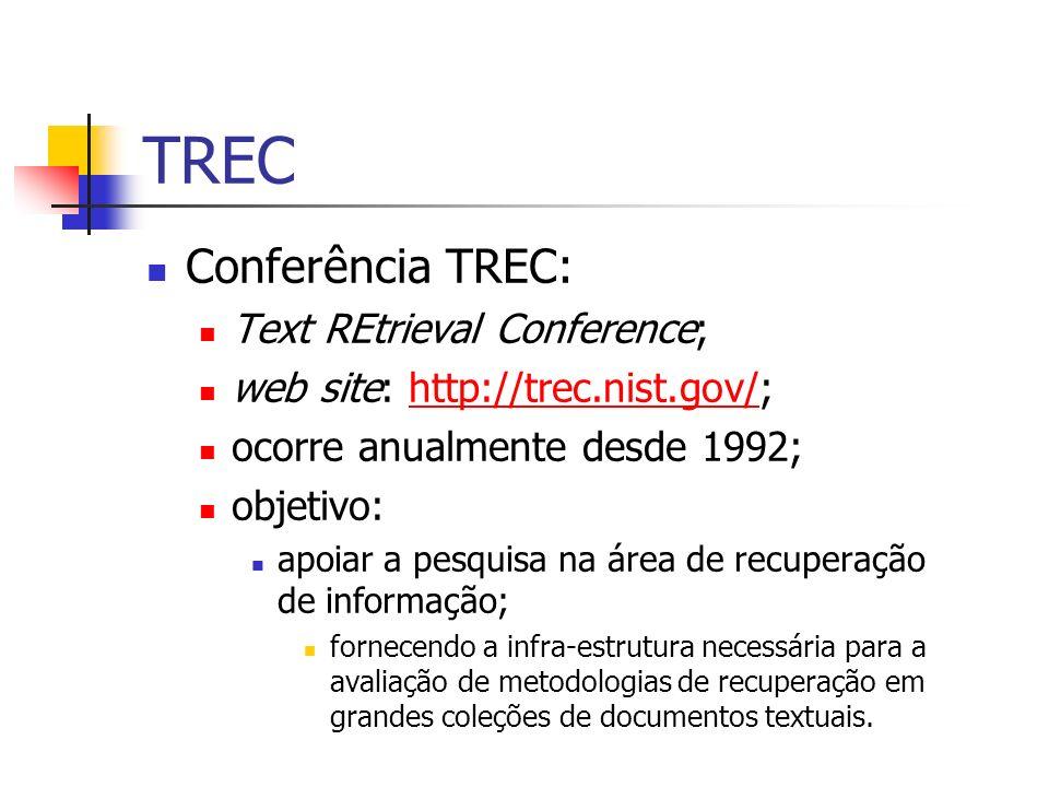 TREC Conferência TREC: Text REtrieval Conference; web site: http://trec.nist.gov/;http://trec.nist.gov/ ocorre anualmente desde 1992; objetivo: apoiar