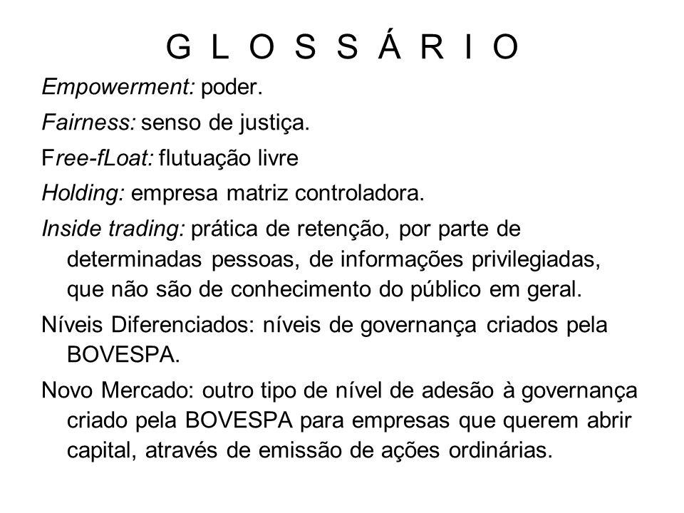 G L O S S Á R I O Empowerment: poder. Fairness: senso de justiça. Free-fLoat: flutuação livre Holding: empresa matriz controladora. Inside trading: pr