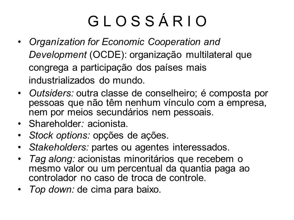 G L O S S Á R I O Organízation for Economic Cooperation and Development (OCDE): organização multilateral que congrega a participação dos países mais i