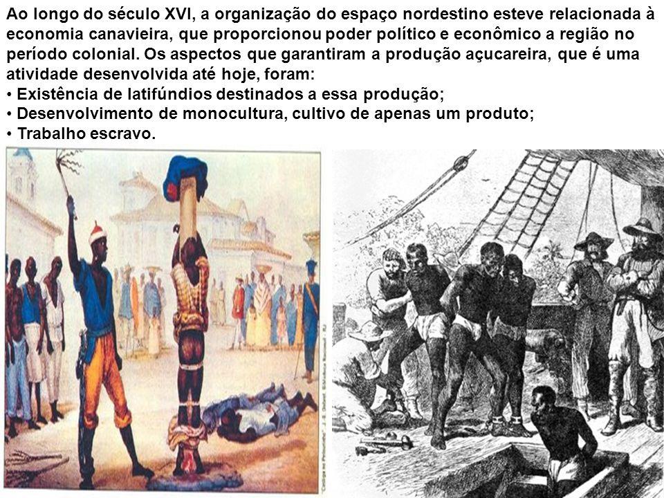 Ao longo do século XVI, a organização do espaço nordestino esteve relacionada à economia canavieira, que proporcionou poder político e econômico a reg