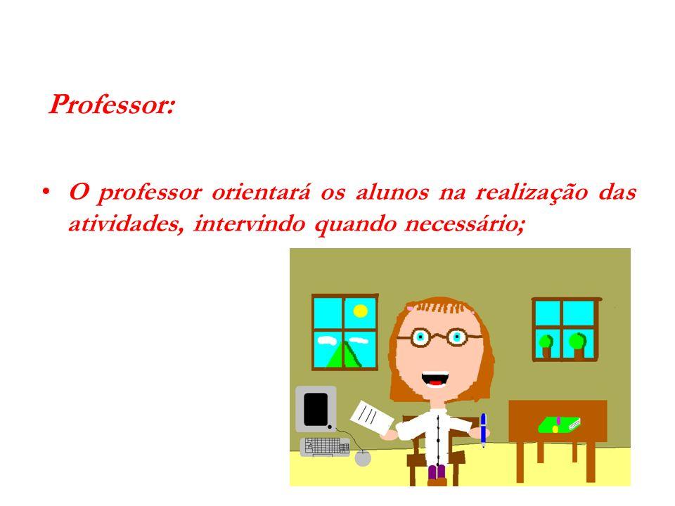 Professor: O professor orientará os alunos na realização das atividades, intervindo quando necessário;