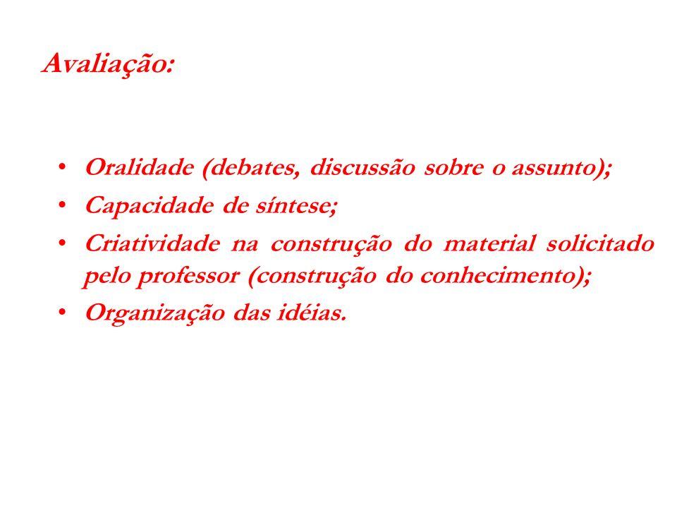 Avaliação: Oralidade (debates, discussão sobre o assunto); Capacidade de síntese; Criatividade na construção do material solicitado pelo professor (co