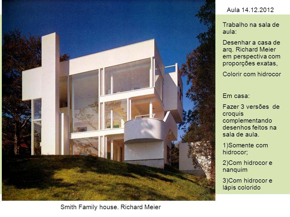 Smith Family house. Richard Meier Trabalho na sala de aula: Desenhar a casa de arq. Richard Meier em perspectiva com proporções exatas, Colorir com hi