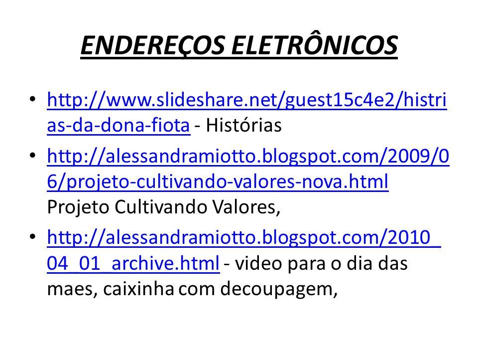 ENDEREÇOS ELETRÔNICOS http://mulheraflordapele.blogspot.com/2008/ 09/sugestes-para-ensinar-todos-os- alunos.html - aulas, mensagens, formaçao, video para o dia das maes, http://mulheraflordapele.blogspot.com/2008/ 09/sugestes-para-ensinar-todos-os- alunos.html http://vivianide.zip.net/origami.html - arte com origami http://vivianide.zip.net/origami.html http://piquiri.blogspot.com/search/label/Dia %20dos%20Pais – Mensagens, lembrancinha para o Dia dos Pais, Sala de Aula, http://piquiri.blogspot.com/search/label/Dia %20dos%20Pais