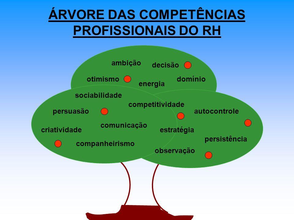 ÁRVORE DAS COMPETÊNCIAS PROFISSIONAIS DO RH observação comunicação persuasão companheirismo estratégia energia competitividade criatividade ambição otimismo sociabilidade decisão autocontrole persistência domínio