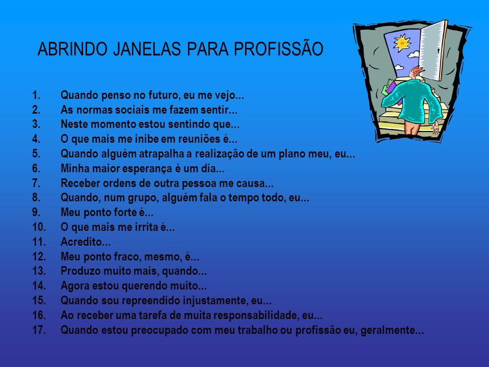 ABRINDO JANELAS PARA PROFISSÃO 1.Quando penso no futuro, eu me vejo...