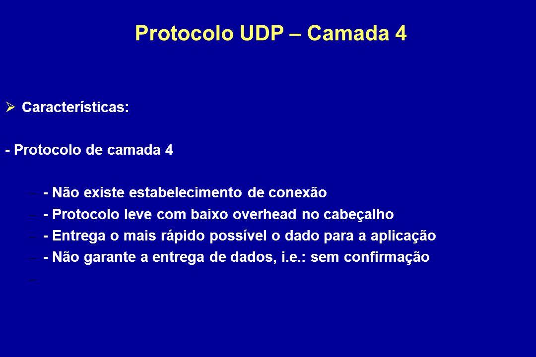Protocolo UDP – Camada 4 Características: - Protocolo de camada 4 – - Não existe estabelecimento de conexão – - Protocolo leve com baixo overhead no cabeçalho – - Entrega o mais rápido possível o dado para a aplicação – - Não garante a entrega de dados, i.e.: sem confirmação –