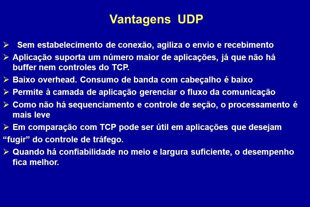 Vantagens UDP Sem estabelecimento de conexão, agiliza o envio e recebimento Aplicação suporta um número maior de aplicações, já que não há buffer nem controles do TCP.