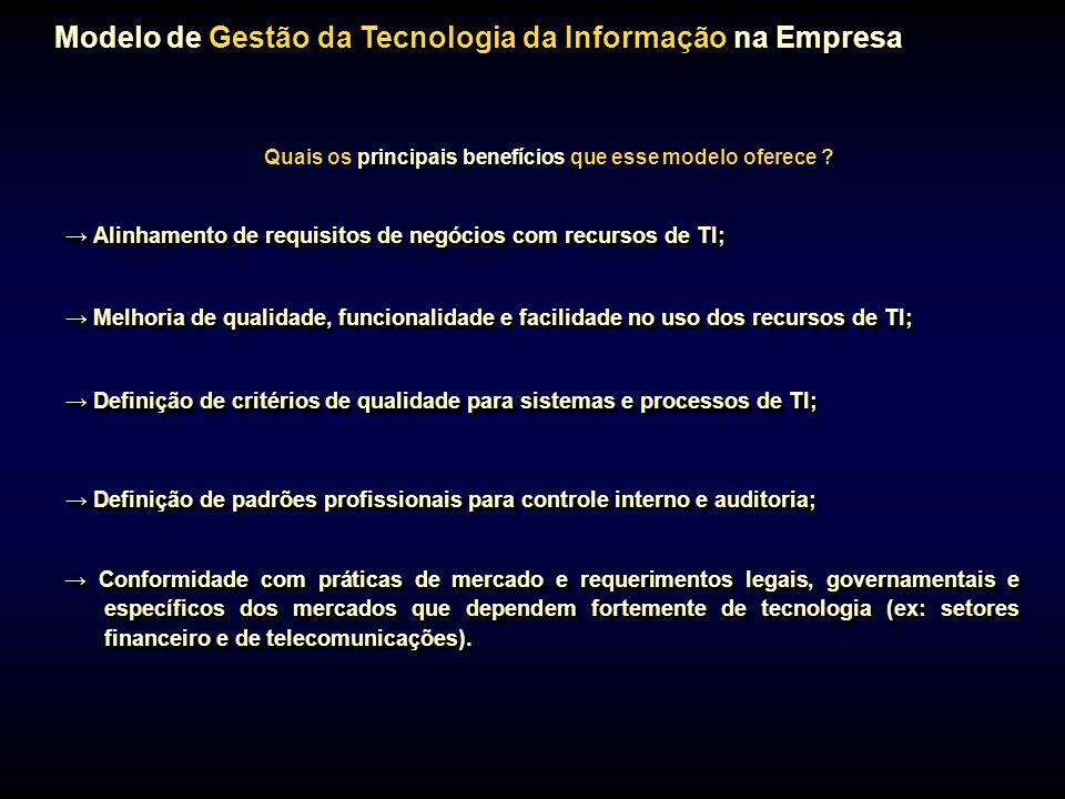 Modelo de Gestão da Tecnologia da Informação na Empresa principais benefícios Quais os principais benefícios que esse modelo oferece ? Melhoria de qua