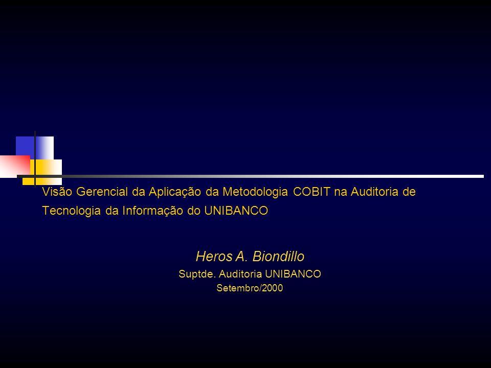 Visão Gerencial da Aplicação da Metodologia COBIT na Auditoria de Tecnologia da Informação do UNIBANCO Heros A. Biondillo Suptde. Auditoria UNIBANCO S