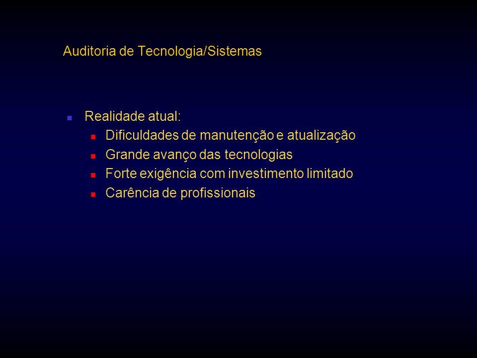 Auditoria de Tecnologia/Sistemas Realidade atual: Dificuldades de manutenção e atualização Grande avanço das tecnologias Forte exigência com investime