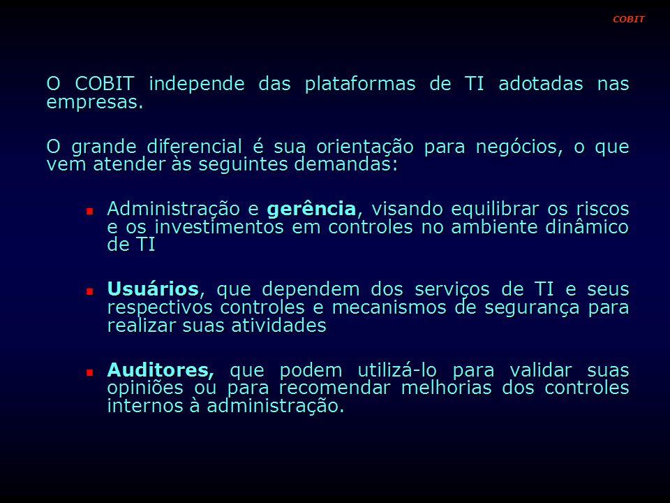 O COBIT independe das plataformas de TI adotadas nas empresas. O grande diferencial é sua orientação para negócios, o que vem atender às seguintes dem