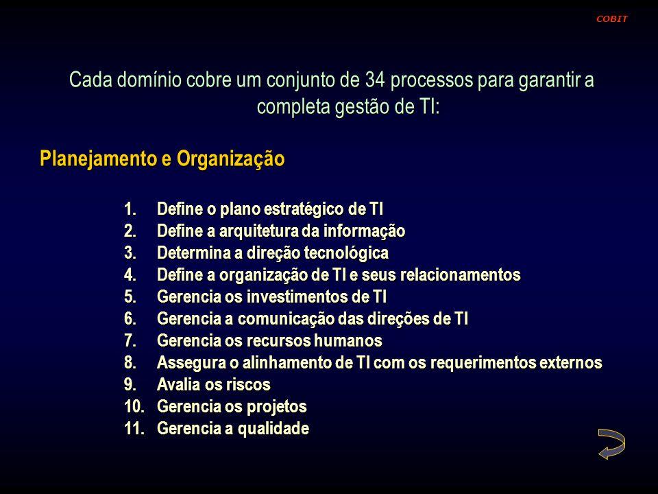 Cada domínio cobre um conjunto de 34 processos para garantir a completa gestão de TI: Planejamento e Organização 1.Define o plano estratégico de TI 2.