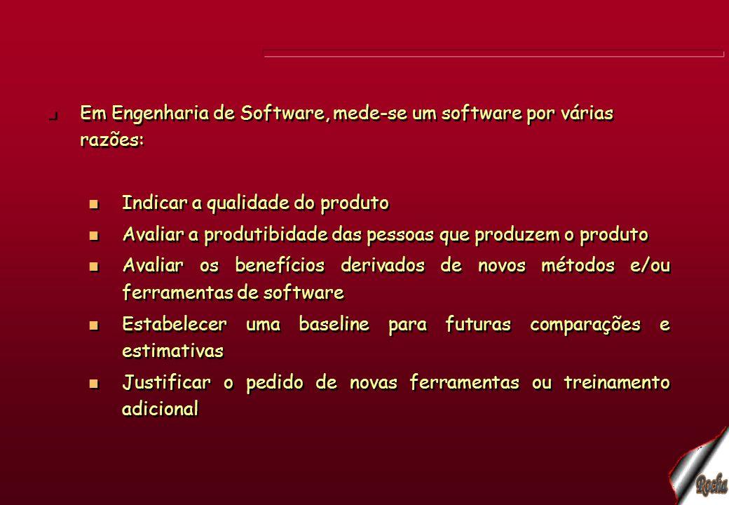 Em Engenharia de Software, mede-se um software por várias razões: Indicar a qualidade do produto Avaliar a produtibidade das pessoas que produzem o pr