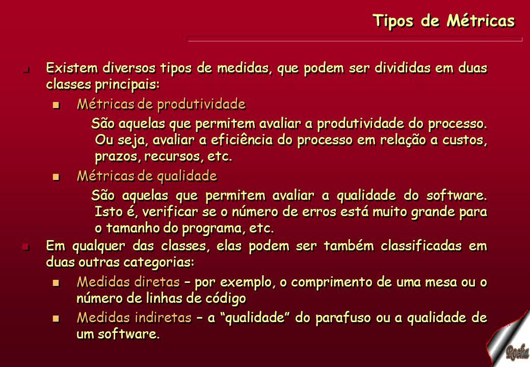 Exemplos de medidas diretas: custo do software em R$, US$, etc.