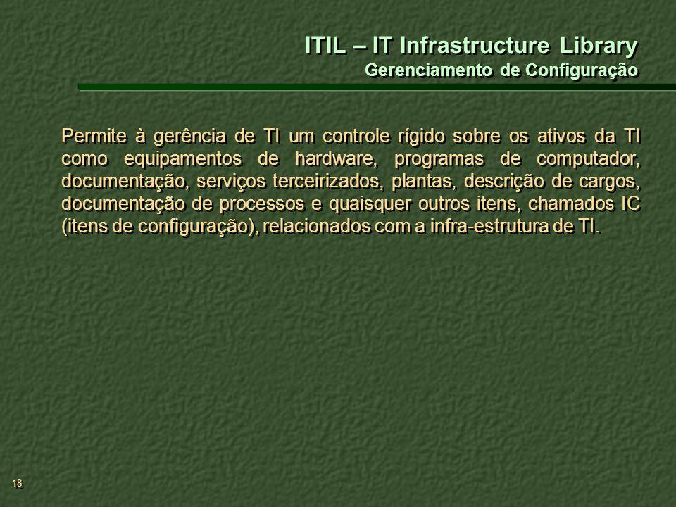 18 Permite à gerência de TI um controle rígido sobre os ativos da TI como equipamentos de hardware, programas de computador, documentação, serviços te