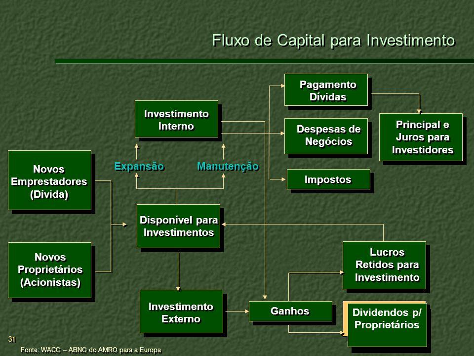 31 Fluxo de Capital para Investimento Novos Emprestadores (Dívida) Novos Proprietários (Acionistas) Disponível para Investimentos Investimento Externo