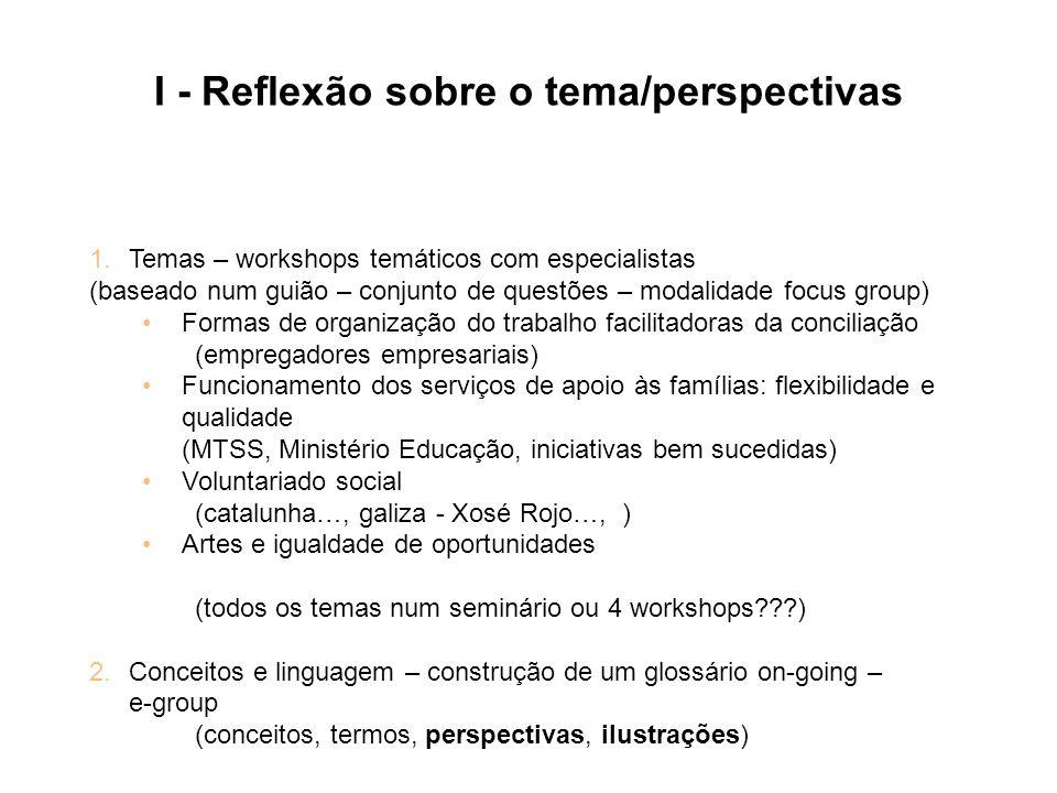 I - Reflexão sobre o tema/perspectivas 1.Temas – workshops temáticos com especialistas (baseado num guião – conjunto de questões – modalidade focus gr