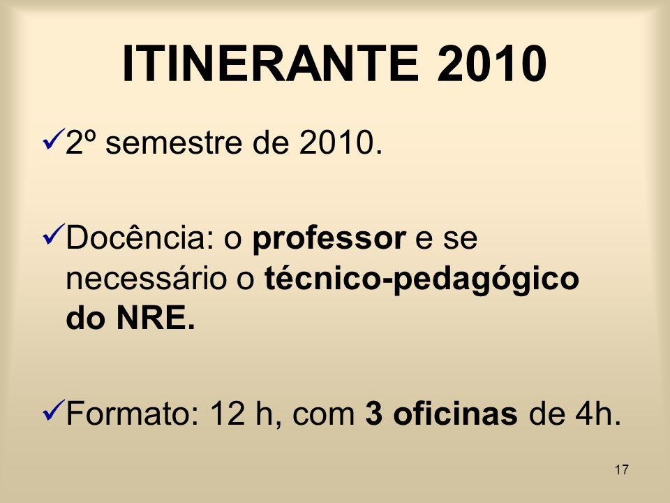 17 ITINERANTE 2010 2º semestre de 2010. Docência: o professor e se necessário o técnico-pedagógico do NRE. Formato: 12 h, com 3 oficinas de 4h.