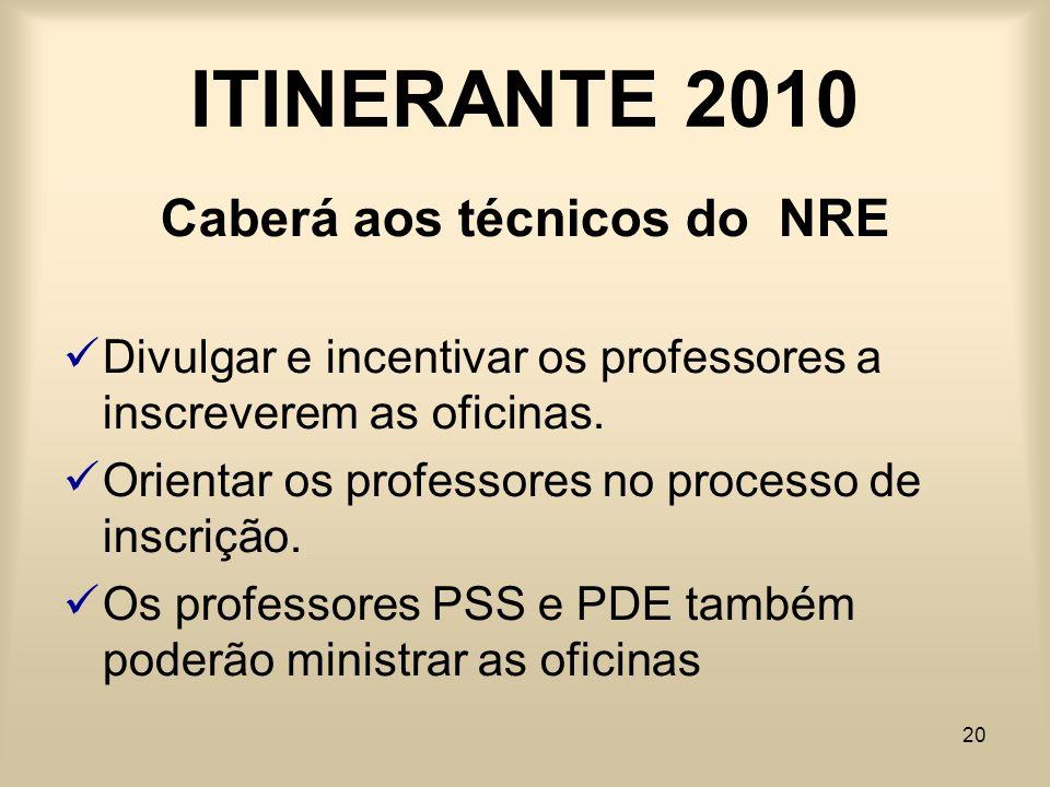 20 ITINERANTE 2010 Caberá aos técnicos do NRE Divulgar e incentivar os professores a inscreverem as oficinas. Orientar os professores no processo de i