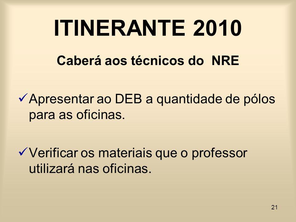 21 ITINERANTE 2010 Caberá aos técnicos do NRE Apresentar ao DEB a quantidade de pólos para as oficinas. Verificar os materiais que o professor utiliza