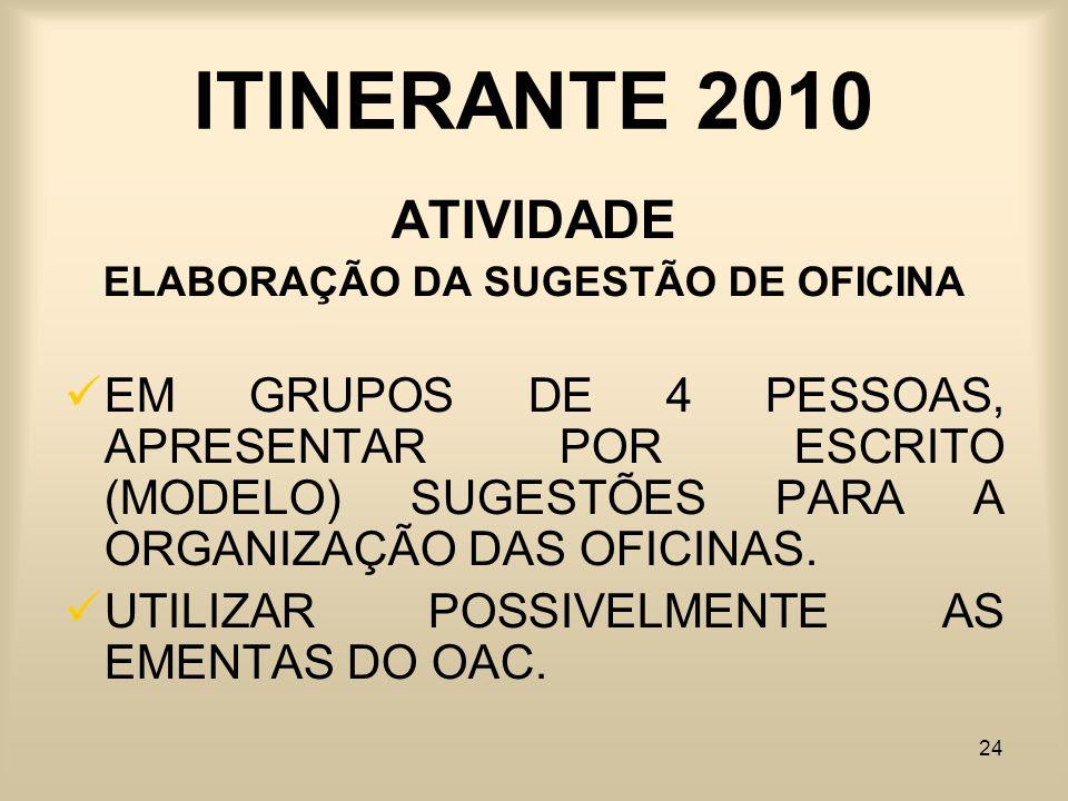 24 ITINERANTE 2010 ATIVIDADE ELABORAÇÃO DA SUGESTÃO DE OFICINA EM GRUPOS DE 4 PESSOAS, APRESENTAR POR ESCRITO (MODELO) SUGESTÕES PARA A ORGANIZAÇÃO DA