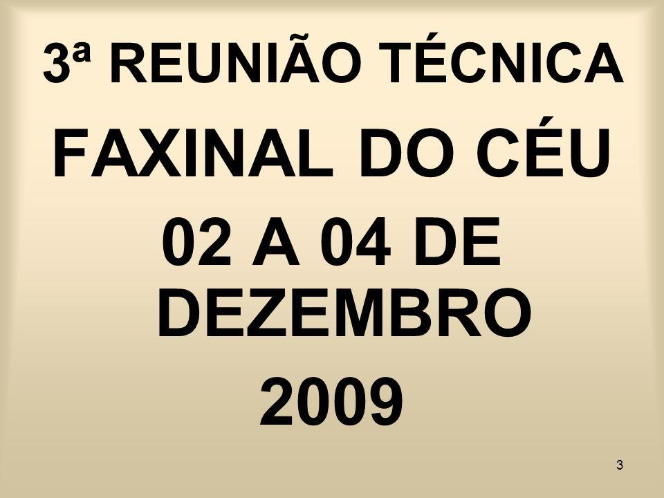 3 3ª REUNIÃO TÉCNICA FAXINAL DO CÉU 02 A 04 DE DEZEMBRO 2009