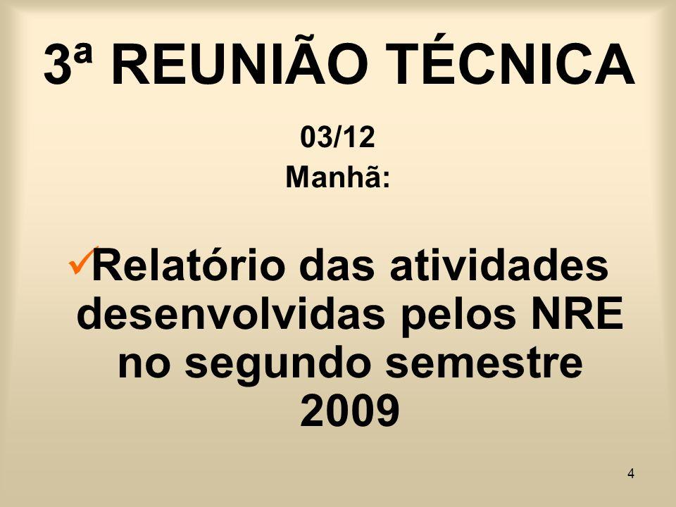 4 3ª REUNIÃO TÉCNICA 03/12 Manhã: Relatório das atividades desenvolvidas pelos NRE no segundo semestre 2009