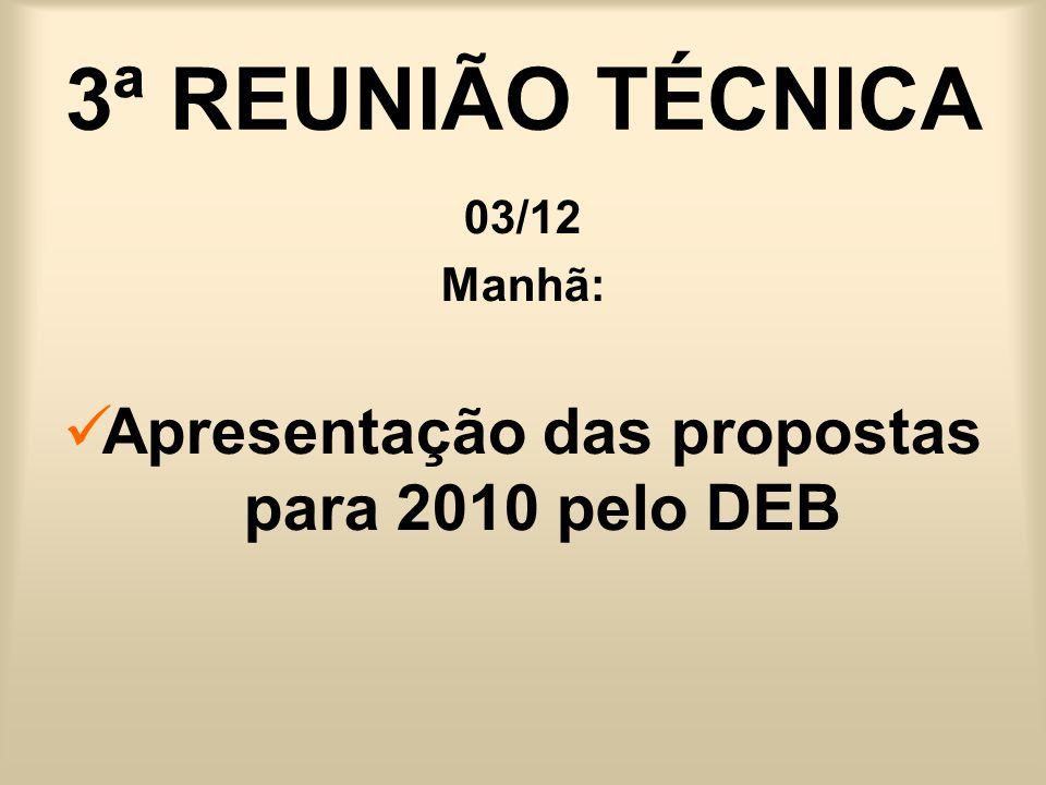 3ª REUNIÃO TÉCNICA 03/12 Manhã: Apresentação das propostas para 2010 pelo DEB