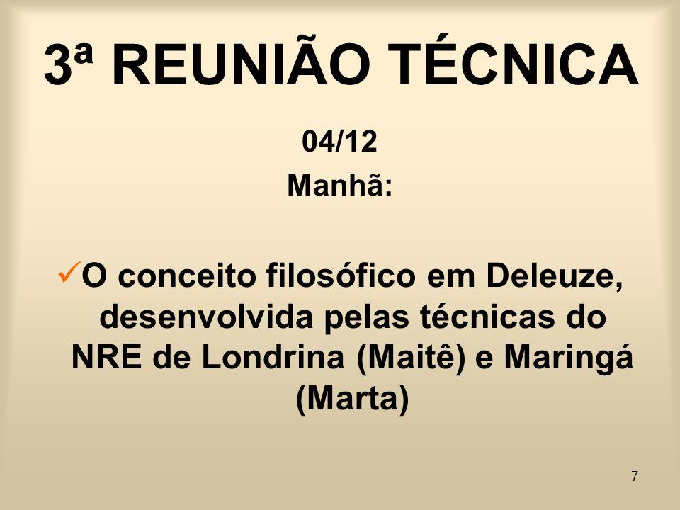 7 3ª REUNIÃO TÉCNICA 04/12 Manhã: O conceito filosófico em Deleuze, desenvolvida pelas técnicas do NRE de Londrina (Maitê) e Maringá (Marta)