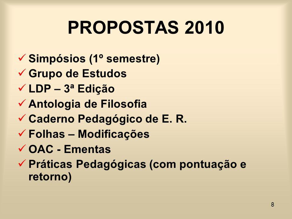 8 PROPOSTAS 2010 Simpósios (1º semestre) Grupo de Estudos LDP – 3ª Edição Antologia de Filosofia Caderno Pedagógico de E. R. Folhas – Modificações OAC