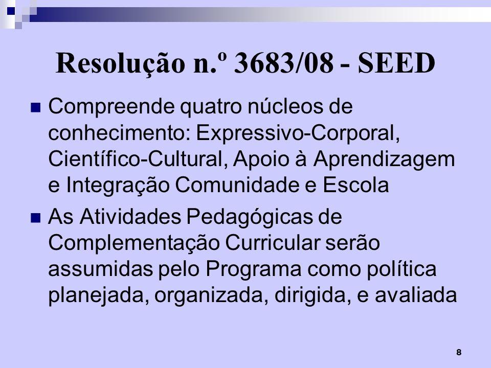 9 Instrução n.º 017/08 – SUED/SEED Atividades Pedagógicas de Complementação Curricular são assumidas como política pública e devem ser contempladas na Proposta Pedagógica Curricular das escolas da Rede Pública Estadual do Paraná