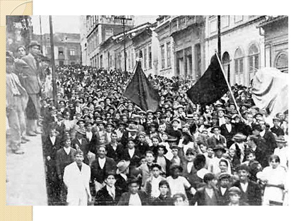 Organização - Final sec. XIX – organização de auxílio mútuo - Surgimento dos sindicatos - ideias anarquistas e socialistas - 1917 – greve geral (São P