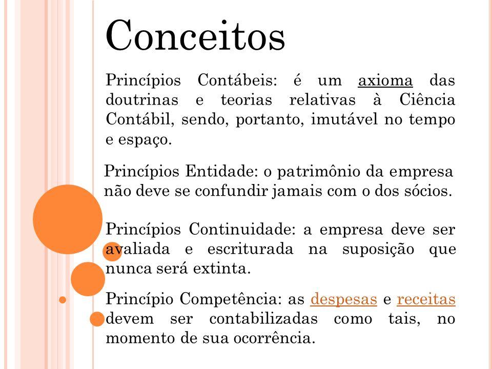 Conceitos Princípio Competência: as despesas e receitas devem ser contabilizadas como tais, no momento de sua ocorrência.despesasreceitas Princípios C