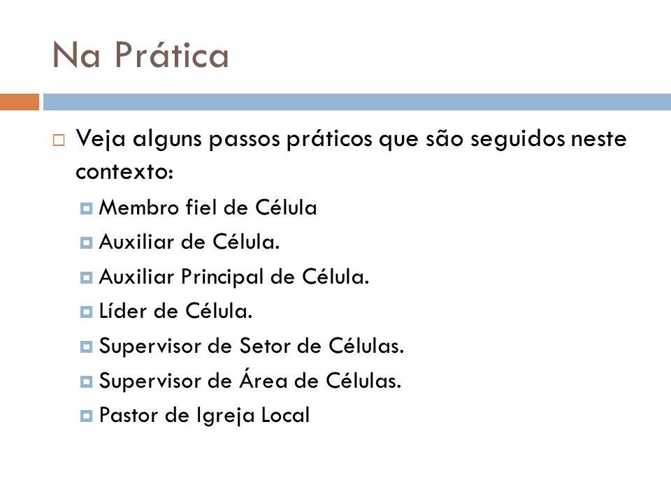 Na Prática Veja alguns passos práticos que são seguidos neste contexto: Membro fiel de Célula Auxiliar de Célula. Auxiliar Principal de Célula. Líder